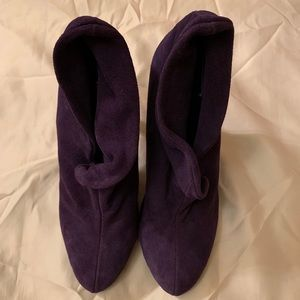 Purple Suede Ankle Boots Booties Size 6